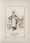 Little maid, little maid, Whither goest thou? Down in the meadow To milk my cow. from the book Mother Goose : or, The old nursery rhymes by Kate Greenaway, Engraved and Printed by Edmund Evans published in 1881 by George Routledge and Sons London nad New York