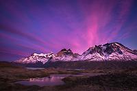 Sunrise clouds over Monte Almirante Nieto, Cuernos del Paine and Cerro Paine Grande, Torres del Paine National Park, Chile