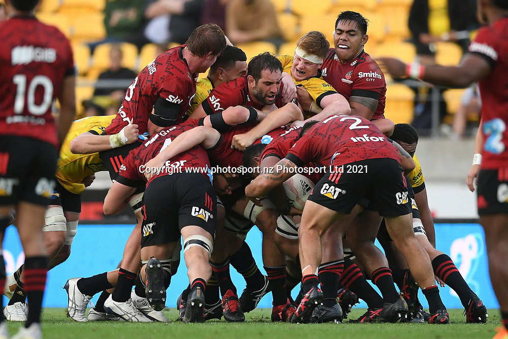 Crusaders players push forwards in a maul in the Super Rugby match, Hurricanes v Crusaders, Sky Stadium, Wellington, Sunday, April 11, 2021. Copyright photo: Kerry Marshall / www.photosport.nz