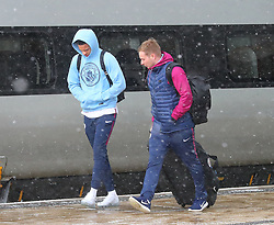 Leroy Sane and The Manchester City team are seen at Manchester Piccadilly Train Station on Thursday morning as they make their trip to London to face Arsenal in the premier league