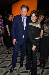 Moet Hennessy UK Managing Director JO THORNTON and ANNA FRIEL at the Veuve Clicquot Business Woman Award 2016 held at Claridge's Hotel, Brook Street, London on 9th May 2016.