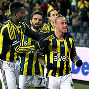 Fenerbahce's Mirosloav Stoch (R) celebrate his goal with team mate during their Turkish superleague soccer match Fenerbahce between Genclerbirligi at the Sukru Saracaoglu stadium in Istanbul Turkey on Saturday 03 March 2012. Photo by TURKPIX