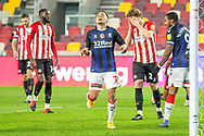 Middlesbrough midfielder Marcus Tavernier (7) rues a missed chance on goal during the EFL Sky Bet Championship match between Brentford and Middlesbrough at Brentford Community Stadium, Brentford, England on 7 November 2020.