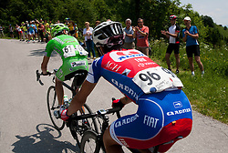 Stefano Pirazzi (ITA) of Bardiani - CSC Inox and Primoz Roglic (SLO) of Adria Mobil during Stage 3 from Skofja Loka to Vrsic (170 km) of cycling race 20th Tour de Slovenie 2013,  on June 15, 2013 in Slovenia. (Photo By Vid Ponikvar / Sportida)