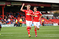 Adam King of Crewe Alexandra celebrates after scoring his teams 1st goal. Skybet football league 1 match, Crewe Alexandra v Swindon Town at The Alexandra Stadium in Crewe, Cheshire on Saturday 5th September 2015.<br /> pic by Chris Stading, Andrew Orchard sports photography.