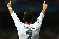 Cristiano Ronaldo of Real Madrid celebrates after scoring his side's fourth goal during the UEFA Champions League Group A football match between Real Madrid and Shakhtar Donetsk on September 15, 2015 at Santiago Bernabeu stadium in Madrid, Spain. <br /> Photo Manuel Blondeau / AOP PRESS / DPPI
