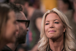 October 20, 2018 - Los Angeles, California, U.S - Owner, Jeanie Buss of the Los Angeles Lakers talk to Adam Levine and Behati Prinsloo during the NBA game with the Houston Rockets on Saturday October 20, 2018 at the Staples Center in Los Angeles, California. (Credit Image: © Prensa Internacional via ZUMA Wire)