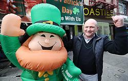 Andy O'Sullivan from Killarney celebrates Ireland's Grand Slam victory outside the Pig and Whistle Irish pub in New York City.