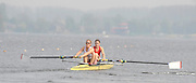 Hazewinkel, BELGIUM,  Stroke Louisa REEVE and Olvia WHITLAM, competing in the Sunday Afternoon, Semi Finals at the GB Rowing Senior Trials at the Blose Rowing Centre.  Sunday 12.04.2009 [Mandatory Credit. Peter Spurrier/Intersport Images]