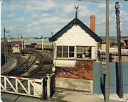 Old amateur photos of Dublin streets churches, cars, lanes, roads, shops schools, hospitals January 1992 Sherrif Street rail Freight yard, signal box level crossing,