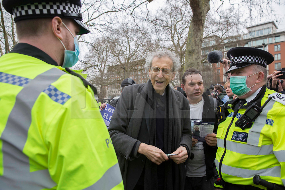 © Licensed to London News Pictures.20/03/2021. London,UK. Pieres Corbyn  joined anti-Lockdown protesters in Hyde Park, central London during the World Wide Rally for Freedom demo. Photo credit: Marcin Nowak/LNP