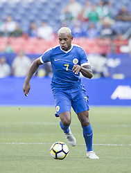 July 13, 2017 - Denver, Colorado, U.S - Curacao MF LEANDRO BACUNA makes a run to the goal during the 1st. Half at Sports Authority Field at Mile High during the CONCACAF Gold Cup tournament Thursday night. El Salvador beats Curacao 2-0. (Credit Image: © Hector Acevedo via ZUMA Wire)