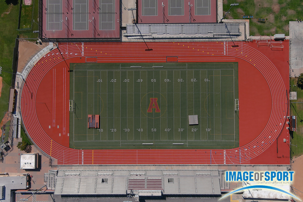 General overall aerial view of Salter Stadium at Arcadia High School, the site of the annual Arcadia Invitational track and field meet, Sunday, Sept. 20, 2020, in Arcadia, Calif. The Arcadia Invitational has produced 32 national records and 179 U.S. Olympians since the meet's inception in 1968. It is the largest outdoor high school meet in the United States, with more than 4,000 high school athletes competing largest high school sporting event in the nation that is hosted on a high school campus.
