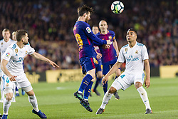 May 6, 2018 - Barcelona, Catalonia, Spain - FC Barcelona forward Lionel Messi (10) and Real Madrid midfielder Casemiro (14) during the match between FC Barcelona v Real Madrid, for the round 36 of the Liga Santander, played at Camp nou  on 6th May 2018 in Barcelona, Spain. (Credit Image: © Urbanandsport/NurPhoto via ZUMA Press)