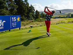 Solheim Cup 2019 at Centenary Course at Gleneagles in Scotland, UK. Annie Park of USA drive on 15th hole during Friday afternoon fourballs.