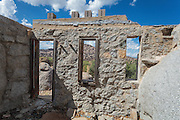 View from inside the ruins of the main living room at Carraro's Grotto in Yarnell, Arizona.