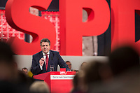 19 MAR 2017, BERLIN/GERMANY:<br /> Sigmar Gabriel, SPD, Bundesaussenminister und scheidender SPD Parteivorsitzender haelt seine Abschiedsrede, a.o. Bundesparteitag, Arena Berlin<br /> IMAGE: 20170319-01-006<br /> KEYWORDS: party congress, social democratic party, speech