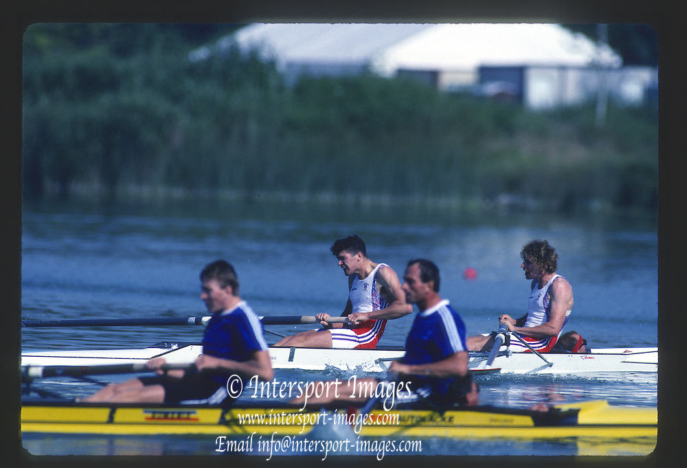 Banyoles, SPAIN, GBR M2+  [Men's COXED pair] Bow. JONNY SEARLE, Stroke. Greg SEARLE and cox. Gary HERBERT,  competing in the 1992 Olympic Regatta, Lake Banyoles, Barcelona, SPAIN. 92 Gold Medalist.   [Mandatory Credit: Peter Spurrier: Intersport Images]