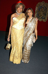 """Left to right, MISS VIMLA LALVANI and her daughterr MRS DIVIA LALVANI at the 10th annual British Red Cross London Ball.  This years ball theme was Indian based - """"Yaksha - Yakshi: Doorkeepers to the Divine"""" and was held at The Room, Upper Ground, London on 1st December 2004.  Proceeds from the ball will aid vital humanitarian work, including HIV/AIDS projects that the Red Cross supports in the UK and overseas.<br /><br />NON EXCLUSIVE - WORLD RIGHTS"""