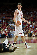 Nov 16, 2011; Fayetteville, AR, USA;  Arkansas Razorbacks forward Hunter Mickelson (21) looks at an Oakland Grizzlies player during a game at Bud Walton Arena. Arkansas defeated Oakland 91-68. Mandatory Credit: Beth Hall-US PRESSWIRE