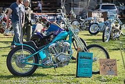 Martin Carlgren of Ringo Chop Shop in Gothenburg, Sweden built this 1947 SRM (Swedish Racing Motor) 1,000 cc chopper Born Free 9 Motorcycle Show. Costa Mesa, CA. USA. Friday June 23, 2017. Photography ©2017 Michael Lichter.