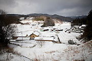 Fukushima  Miyakoshi  Village of mountain - March 2012.The road 399 is just over the limit of the Nuclear Evacuation zone. The nuclear plant is 20 km ahead. The landscape is made by mountain and valley with small villages. Most of them has been abandoned.