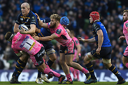 December 16, 2017 - Dublin, Ireland - Devin Toner of Leinster team in action challenged by Ben Moon (Left) and Tom Francis of Exeter Chiefs during the  European Rugby Champions Cup rugby match at Aviva Stadium...On Saturday, 16 December 2017, in Dublin, Ireland. (Credit Image: © Artur Widak/NurPhoto via ZUMA Press)