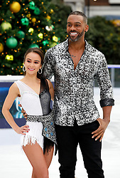 Carlotta Edwards (left) and Richard Blackwood during the press launch for the upcoming series of Dancing On Ice at the Natural History Museum Ice Rink in London. Picture date: Tuesday December 18, 2018. Photo credit should read: David Parry/PA Wire
