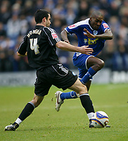 Photo: Steve Bond/Richard Lane Photography. Leicester City v Peterborough United. Coca-Cola Football League One. 20/12/2008. lloyd Dyer (R) skips past Craig Morgan (L)