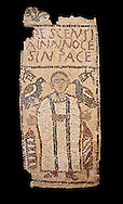The Christian Eastern Roman Byzantine memorial funerary mosaic for Crescentia. <br /> Above the funerary portrait of Crescentia are the words: 'Crescentia, innocent and in Peace'. Crescentia is dressed in a dalmatic, a long wide-sleeved tunic, with a belt around the waiste and a neclace around her neck. Lit candles represent eternal life. 5th century AD from the western necropolis of Thabraca, Tabarka, Tunisia, Bardo Museum, Tunis, Tunisia. Black background .<br /> <br /> If you prefer to buy from our ALAMY PHOTO LIBRARY  Collection visit : https://www.alamy.com/portfolio/paul-williams-funkystock/roman-mosaic.html - Type -   Bardo    - into the LOWER SEARCH WITHIN GALLERY box. Refine search by adding background colour, place, museum etc<br /> <br /> Visit our ROMAN MOSAIC PHOTO COLLECTIONS for more photos to download  as wall art prints https://funkystock.photoshelter.com/gallery-collection/Roman-Mosaics-Art-Pictures-Images/C0000LcfNel7FpLI