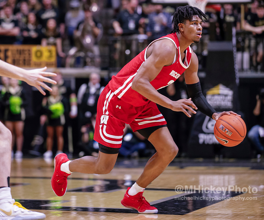 WEST LAFAYETTE, IN - JANUARY 24: Aleem Ford #2 of the Wisconsin Badgers dribbles the ball during the game against the Purdue Boilermakers at Mackey Arena on January 24, 2020 in West Lafayette, Indiana. (Photo by Michael Hickey/Getty Images) *** Local Caption *** Aleem Ford