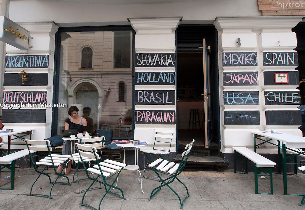 Cafe with World Cup football teams written on wall during tournament 2010 in Berlin GErmany