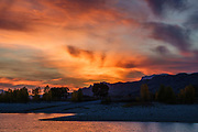 Sunset seen from Buffalo Bill State Park, North Shore Campground, Buffalo Bill Reservoir, Cody, Wyoming, USA.