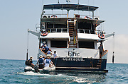 The Eric, operated by Ecoventura, is a superior first class motor yacht built in early 1990's, which has refitted its electrical system to be the first solar-panel hybrid vessel in the Galapagos Islands, Ecuador.