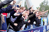 The Fulham fans celebrate during the EFL Sky Bet Championship match between Huddersfield Town and Fulham at the John Smiths Stadium, Huddersfield, England on 14 August 2021.