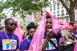 London, UK. 6 July, 2019. Activists from African Rainbow Family (ARF), a not-for-profit charitable organisation that supports lesbian, gay, bisexual, transgender intersexual and queer (LGBTIQ) people of African heritage, take part in a London Pride Solidarity March at the very rear of Pride in London after storming the parade in solidarity with those for whom Pride in London is inaccessible and in protest against the corporatisation of Pride in London.