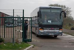 """Dschungel von Calais: Das wilde Fl¸chtlingslager wird ger‰umt und die Fl¸chtlinge in Aufnahmezentren verteilt / 241016 ***Calais, Pas-de-Calais, France - 24.10.2016    <br />  <br /> A full bus leaving registration area. Start of the eviction on the so called îJungle"""" refugee camp on the outskirts of the French city of Calais. Refugees and migrants leaving the camp to get with buses to asylum facilities in the entire country. Many thousands of migrants and refugees are waiting in some cases for years in the port city in the hope of being able to cross the English Channel to Britain. French authorities announced a week ago that they will evict the camp where currently up to up to 10,000 people live.<br /> <br /> <br /> Ein voller Bus verlaesst das Registrierungscenter. Beginn der Raeumung des so genannte îJungleî-Fluechtlingscamp in der franzˆsischen Hafenstadt Calais. Fluechtlinge und Migranten verlassen das Camp um mit Bussen zu unterschiedlichen Asyleinrichtungen gebracht zu werden. Viele tausend Migranten und Fluechtlinge harren teilweise seit Jahren in der Hafenstadt aus in der Hoffnung den Aermelkanal nach Groflbritannien ueberqueren zu koennen. Die franzoesischen Behoerden kuendigten vor einigen Wochen an, dass sie das Camp, indem derzeit bis zu bis zu 10.000 Menschen leben raeumen werden. <br /> <br /> Photo: Bjoern Kietzmann"""