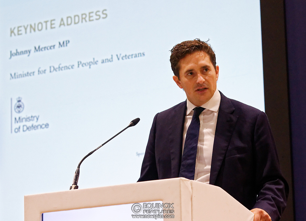 London, United Kingdom - 12 September 2019<br /> Johnny Mercer MP, Parliamentary Under-Secretary of State for Defence People and Veterans for the UK Government gives a keynote address speech and answers questions from the audience at DSEI 2019 security, defence and arms fair at ExCeL London exhibition centre.<br /> (photo by: EQUINOXFEATURES.COM)<br /> Picture Data:<br /> Photographer: Equinox Features<br /> Copyright: ©2019 Equinox Licensing Ltd. +443700 780000<br /> Contact: Equinox Features<br /> Date Taken: 20190912<br /> Time Taken: 10053876<br /> www.newspics.com