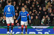 James Tavernier (C) of Rangers FC digs out team mate Connor Goldson of Rangers FC during the Betfred Scottish League Cup Final match between Rangers and Celtic at Hampden Park, Glasgow, United Kingdom on 8 December 2019.