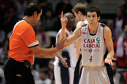 15.05.2010, Fernando Buesa Arena, Vitoria Gazteiz, ESP, ACB, Finals, Caja Laboral Baskonia vs FC Barcelona im Bild Caja Laboral Baskonia's Pau Ribas and the referee Daniel Herrezuelo, EXPA Pictures © 2010, PhotoCredit: EXPA/ Alterphotos/ Acero / SPORTIDA PHOTO AGENCY