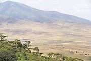 Scenic landscape with view of mountains and savannah at the Ngorongoro Crater, Tanzania
