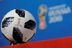 June 21, 2018 - Saint Petersburg, Russia - The FIFA World Cup 2018 official ball Telstar is seen during a press conference during the FIFA World Cup 2018 on June 21, 2018 at Saint Petersburg Stadium in Saint Petersburg, Russia. (Credit Image: © Mike Kireev/NurPhoto via ZUMA Press)