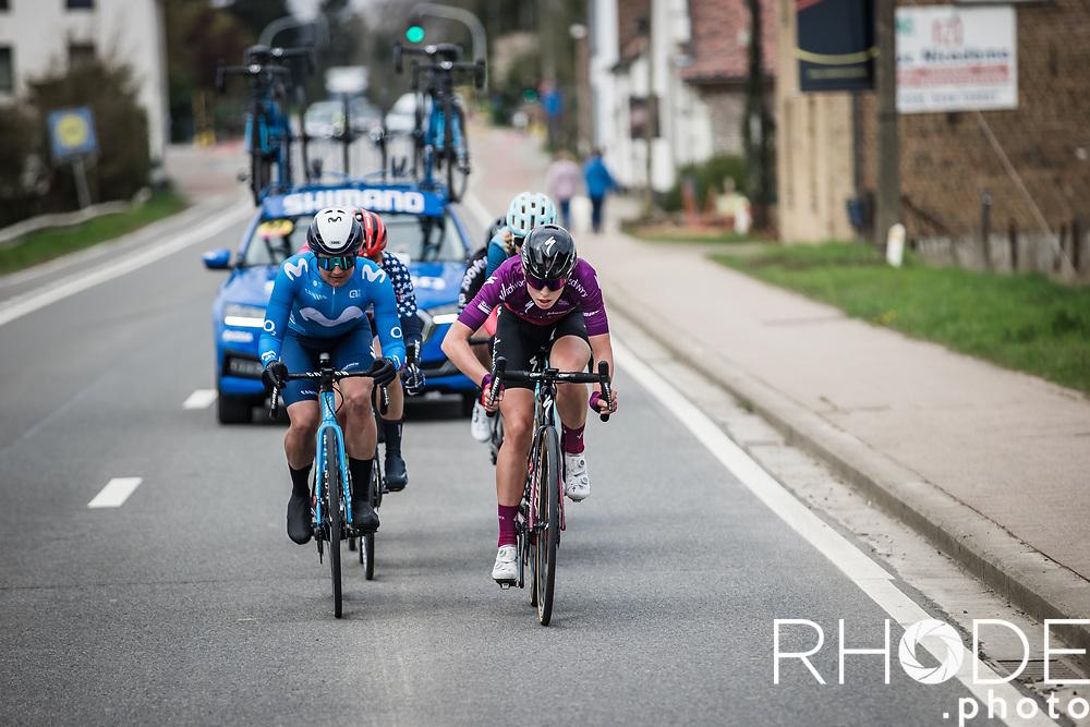 Leah Thomas (USA/Movistar), Joscelin Lowden (GBR/Drops LeCol) and Demi Vollering (NED/SD Worx) in front of the race<br /> <br /> Women's Elite Brabantse Pijl 2021 <br /> 1 Day Race: Lennik - Overijse 127km<br /> <br /> ©Rhode.Photo