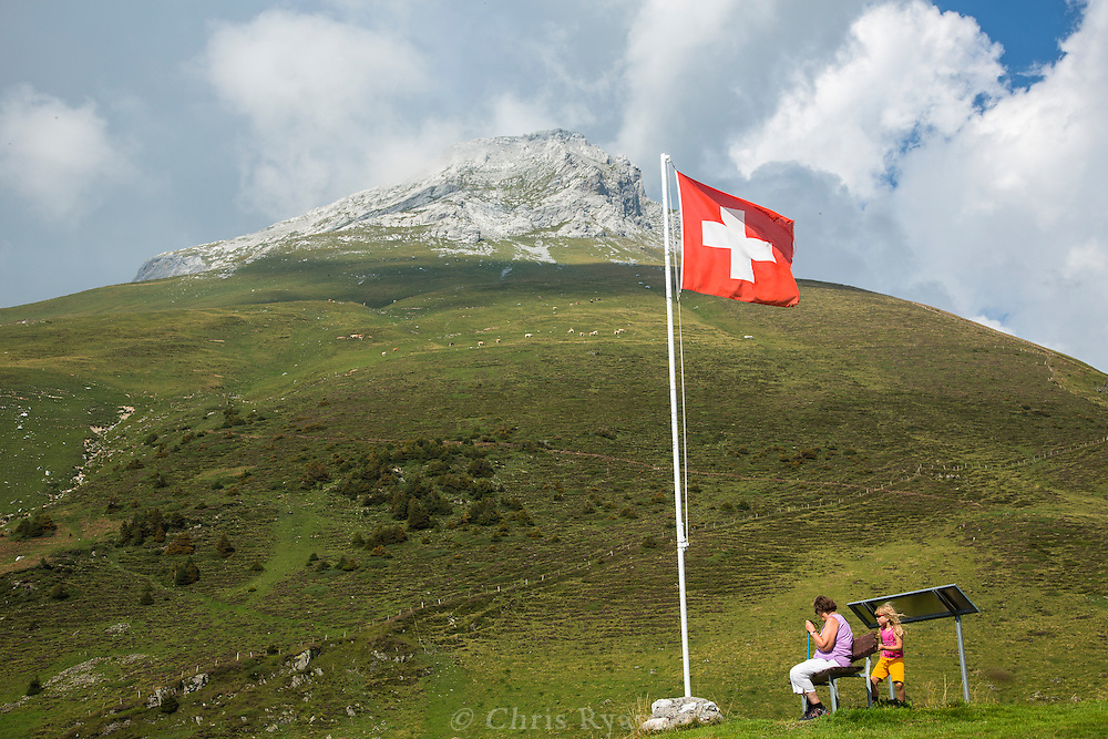 National flag along the Via Alpina in the Swiss Alps