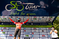 Winner Phil BAUHAUS of BAHRAIN VICTORIOUS celebrates in red jersey at trophy ceremony after the 1st Stage of 27th Tour of Slovenia 2021 cycling race between Ptuj and Rogaska Slatina (151,5 km), on June 9, 2021 in Slovenia. Photo by Vid Ponikvar / Sportida