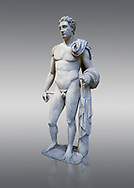 The 'Atalante Hermes' Roman marble statue found at Atalante. 2nd Cemt AD copy of the 4th cent BC Lysippean Greek style. Athens Archaeological Museum, cat no 240. Against grey<br /> <br /> Funserary statue of a youth depicted as Hermes. He is shown nude with his chlamys over his shoulder and wound around his right arm. In his left hand he holds a 'caduceus'. .<br /> <br /> If you prefer to buy from our ALAMY STOCK LIBRARY page at https://www.alamy.com/portfolio/paul-williams-funkystock/greco-roman-sculptures.html . Type -    Athens    - into LOWER SEARCH WITHIN GALLERY box - Refine search by adding a subject, place, background colour, etc.<br /> <br /> Visit our ROMAN WORLD PHOTO COLLECTIONS for more photos to download or buy as wall art prints https://funkystock.photoshelter.com/gallery-collection/The-Romans-Art-Artefacts-Antiquities-Historic-Sites-Pictures-Images/C0000r2uLJJo9_s0