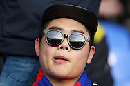 a Crystal Palace fan wearing reflective sunglasses at Selhurst Park before k/o. Barclays Premier League match, Crystal Palace v Swansea city at Selhurst Park in London on Monday 28th December 2015.<br /> pic by John Patrick Fletcher, Andrew Orchard sports photography.
