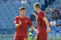 September 23, 2017 - Rome, Italy - Edin Dzeko celebrates with Stephan El Shaarawy  after scoring a goal during the Italian Serie A football match between A.S. Roma and Udinese at the Olympic Stadium in Rome, on september 23, 2017. (Credit Image: © Silvia Lore/NurPhoto via ZUMA Press)