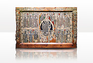 Romanesque painted altar front from the church of Saint Pau d'esterri de Cardos, Spain, Metal reliefs of Christ Pantocrator surrounded by the 12 Apostles.  National Art Museum of Catalonia, Barcelona 1919-23. Ref: MNAC 15970. .<br /> <br /> If you prefer you can also buy from our ALAMY PHOTO LIBRARY  Collection visit : https://www.alamy.com/portfolio/paul-williams-funkystock/romanesque-art-antiquities.html<br /> Type -     MNAC     - into the LOWER SEARCH WITHIN GALLERY box. Refine search by adding background colour, place, subject etc<br /> <br /> Visit our ROMANESQUE ART PHOTO COLLECTION for more   photos  to download or buy as prints https://funkystock.photoshelter.com/gallery-collection/Medieval-Romanesque-Art-Antiquities-Historic-Sites-Pictures-Images-of/C0000uYGQT94tY_Y