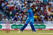 India T20 all rounder KL Lokesh Rahul attacks a delivery  during the International T20 match between England and India at Old Trafford, Manchester, England on 3 July 2018. Picture by Simon Davies.